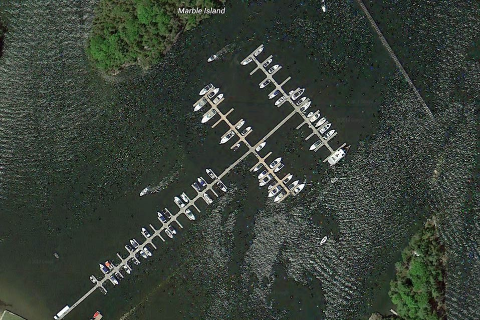 Marina at Marble Island - commercial galvanized steel truss floating dock system