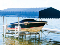 12,000 lb. Ultimate vertical boat lift with Sunbrella canopy