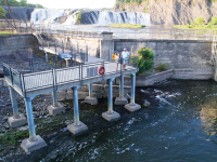 Our pile dock as an industrial viewing platform - designed to withstand seasonal flooding. Falls View Park, Cohoes, NY