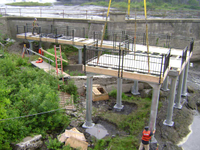 Installation of industrial pile platform at the Brookfield Power Plant on the Mohawk River