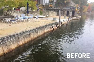 150' long crumbling waterfront on Lake Winnipesaukee prior to repair