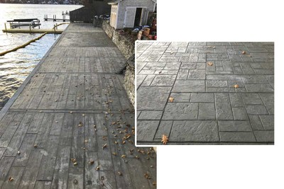 Seawall restoration complete with closeup of decorative concrete (inset)