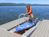 Using the boarding handle provides stability when getting in and out of the kayak