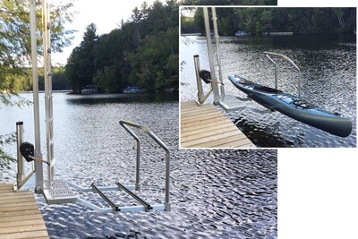 Kayak Ladder Lift & Launch mounted on a pier-style permanent dock