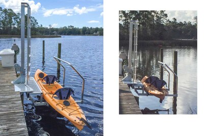 Heavy Duty KLL-400 Kayak Ladder Lift & Launch mounted on a pier-style permanent dock