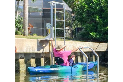 KLL-100 Kayak Ladder Lift & Launch mounted on a seawall with transition step