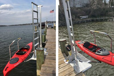 KLL-100 Kayak Ladder Lift & Launch mounted on a permanent pier style dock with transition step