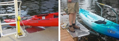 Transition step also assists loading your kayak onto the bunks
