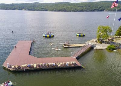 Custom swim dock for Basin Harbor Resort marina on Lake Champlain in Vergennes, Vermont