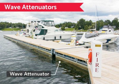 Our galvanized steel wave attenuators are fabricated using a steel truss substructure and are designed for your site depending on the wind and wave exposure.