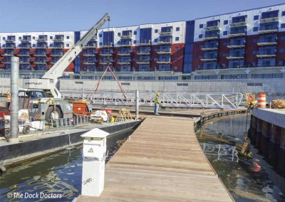 Installation of the 80 foot gangway at the Mohawk Harbor in Schenectady, New York