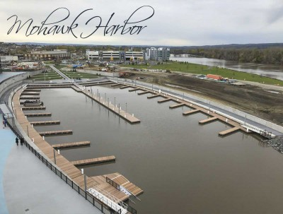 The Dock Doctors designed, manufactured and installed the 50-slip marina at the new Mohawk Harbor