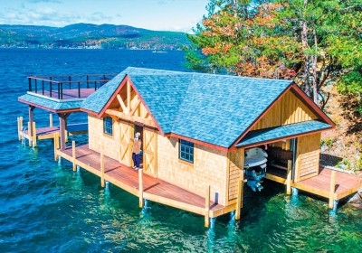 Custom designed boathouse on our pile dock foundation in Lake George NY
