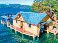 Boathouse with our pile dock as a foundation, Lake George, NY