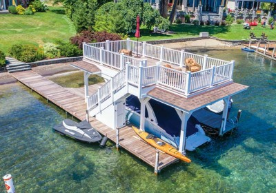 Phased Project: Pile dock installed first, then boathouse with sundeck added 6 years later