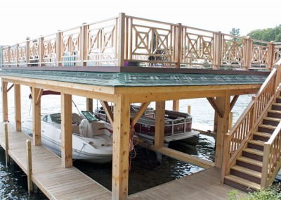 Sundeck style boathouse constructed on top of our permanent pile dock