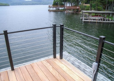 Stainless steel cable rails with powder coated aluminum posts