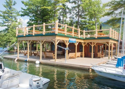 Crib dock & timber frame sundeck at YMCA summer camp