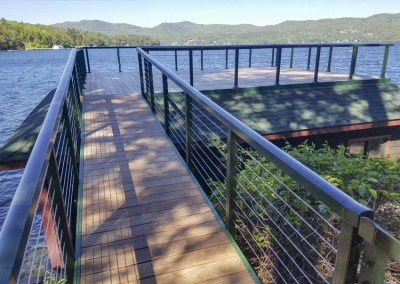 Sundeck style boathouse with stainless steel cable rail - Lake George, NY