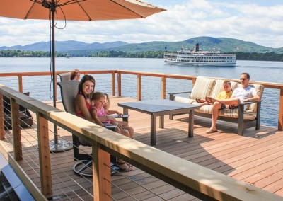 Boathouse sundeck with stainless steel cable rail