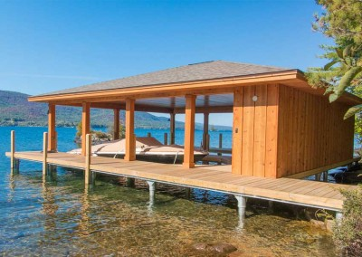 Our permanent pile dock serves as the foundation for this boathouse (boathouse constructed by others)