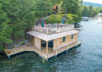 Sundeck style boathouse with pile dock foundation - Lake George NY