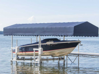 Ultimate vertical boat lift with Sunbrella canopy