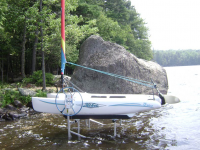 Small craft lift customized to accommodate a sailboat