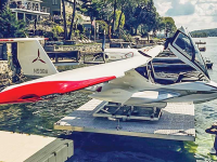 Hydraulic lift with custom platform & revolving bunk system to accommodate sea plane.