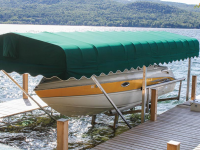 Hydraulic boat lift with Sunbrella canopy