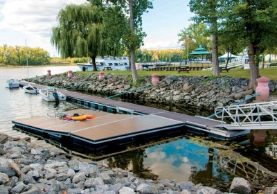 Municipal dock on the Hudson River with commercial kayak launch added as a second phase
