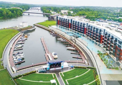50-slip marina at the new Mohawk Harbor, Schenectady, NY - Custom designed and manufactured to contour to the curved seawall