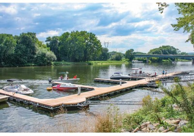Commercial public day use floating dock system with stiff arm anchoring, Mohawk River, Schnectady, NY