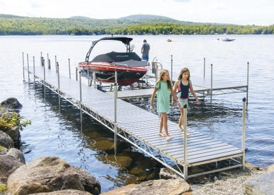 Our heavy duty steel truss leg docks with NyloDeck® decking