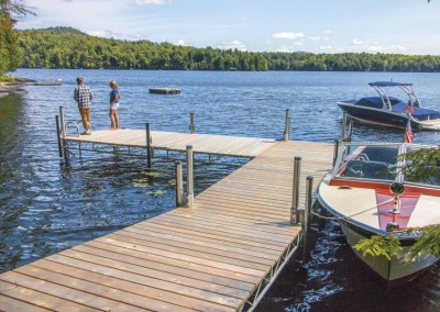 Our Mega Leg dock with cedar decking and adjustable vertical fenders