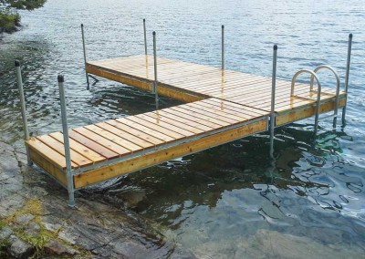 Optional wooden skirt boards provide the appearance of a wooden dock