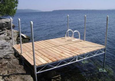 Steel truss leg docks with cedar decking