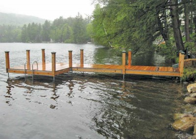 Leg docks with skirt boards and post covers