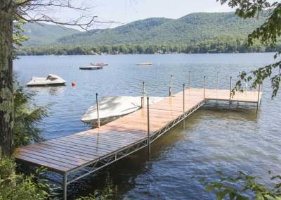 Our 6' wide heavy duty steel truss leg docks with cedar decking