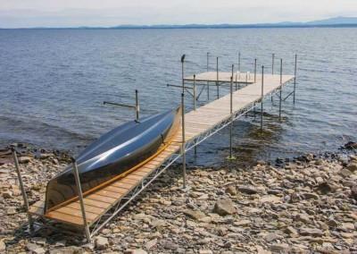 Our 4' wide heavy duty steel truss leg docks with cedar decking