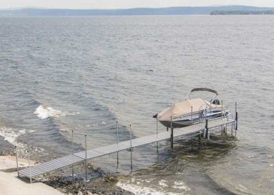 Our heavy duty steel truss leg docks with NyloDeck® decking in a rough area of Lake Champlain