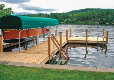 Optional wood skirt boards & post covers provide the appearance of a wooden dock