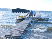 Heavy duty steel truss leg docks: 4' wide main dock with 6' × 10' sections for a platform area