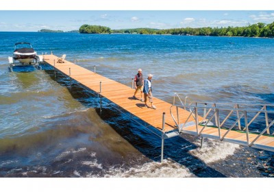 Our Mega Dock is designed for use in rough and deep water applications
