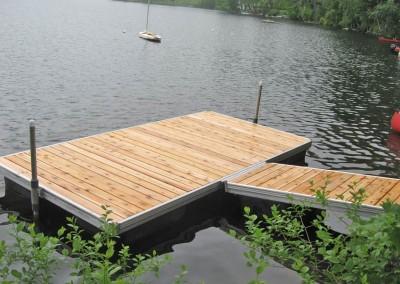 Aluminum frame floating docks with cedar decking