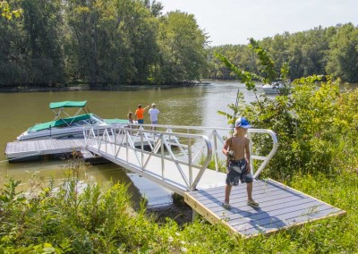 Our heavy duty aluminum floating docks are an option for sites with more exposure