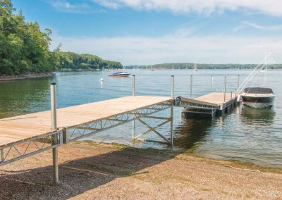 Our mega dock used as a shoreside access to a custom floating dock