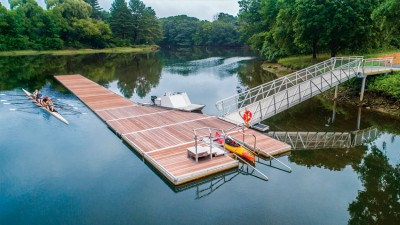 Our commercial kayak launch integrated into a rowing dock, City of Dover, NH