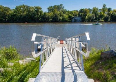 30' long ADA gangway creating access to commercial canoe/kayak launch system