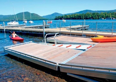 Heavy duty aluminum floating dock & launch system for public canoe & kayak access launch